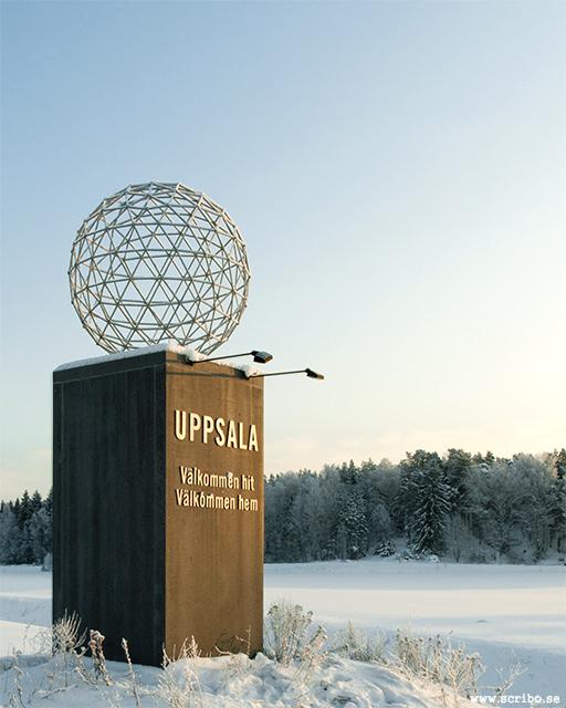 Vinterbild på infartspelaren Uppsala