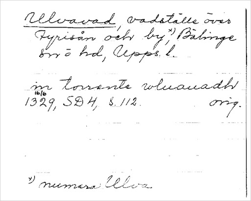Arkivkort Ulva vad från Ortnamnsregistret
