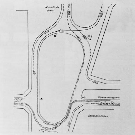 beskrivning på hur man skall köra genom rondellen vid strandbodkilen från 1950-talet