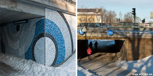 tunnlarna under Luthagsbron med mosaik och träpanel