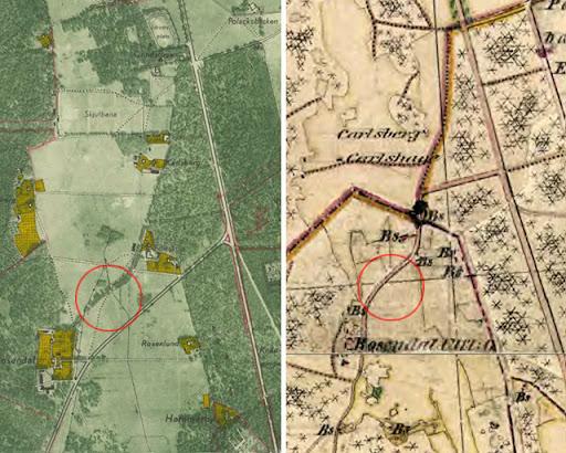 Kartor från 1952 och 1859-63 som visar häradsvägen över rosendalsfältet