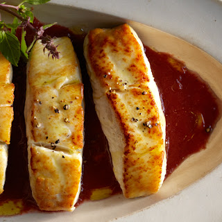Halibut with Tomato-Cherry Vinaigrette