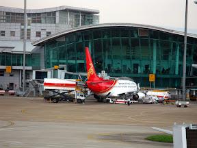 搭乘深航的客机回深圳,摄于深圳宝安机场