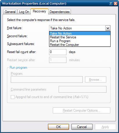 Windows Service Recovery Dialog