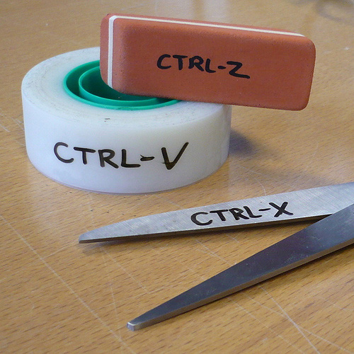 Ctrl-V, Ctrl-X, Ctrl -Z