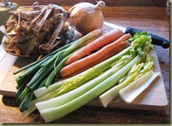 Turkey bones and veges for soup