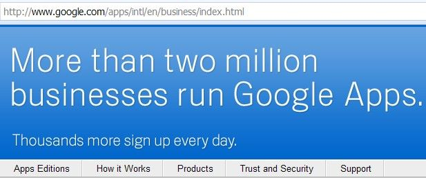Google Apps hosting two million businesses