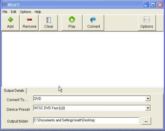 WinFF installation on Windows XP