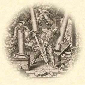 Sansón destruye el templo de los Filisteos, por Philip Galle