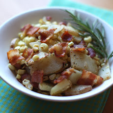 Corn and Red Potato Skillet with Bacon and Fresh Rosemary