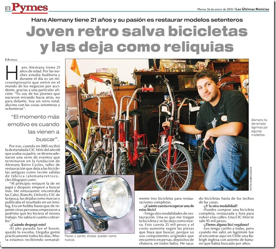 Las Ultimas Noticias 2010- AlemanyRetroCycles