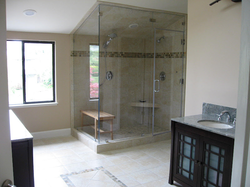 Glass Shower Walls In Vaulted Ceiling Bathroom With Glass