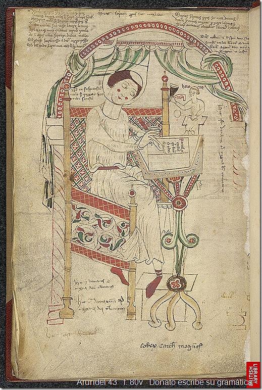 Arundel 43   f. 80v   Donato escribe su gramática