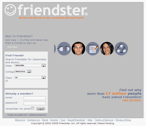 Amidst steady growth in membership, Friendster released several login page