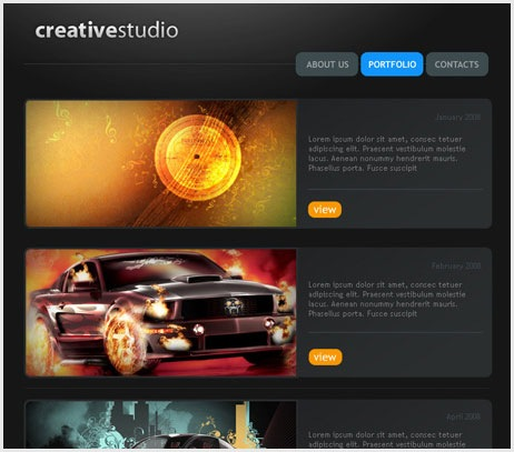 Creative studio Web page
