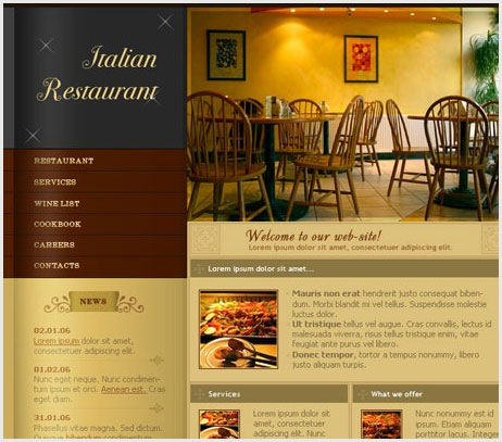 Web Layout For Italian Restraunt