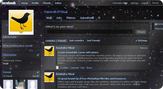 Facebook theme - Galaxy Blue, transparency