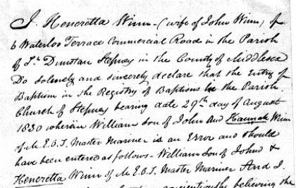 Heneretta Winn's affidavit, 1847