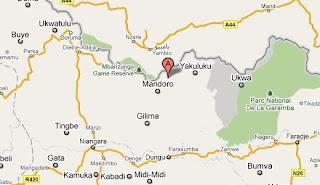 – La localité de Duru marquée en rouge sur la carte.