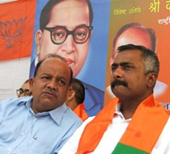 BJP delhi Pradesh President with Sanjay Joshi,BJP Senior leader at a function to Celebrate Birthday of Baba Sahib Ambedkar, in the Capital on Thursday. tribune Photo/Rajeev Tyagi
