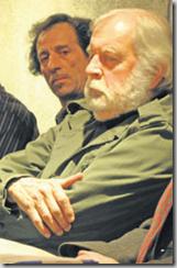 Jacques Chessex, ici aux côtés d'Alain Gilliéron, directeur artistique de l'Estrée. Photo Christian Aebi