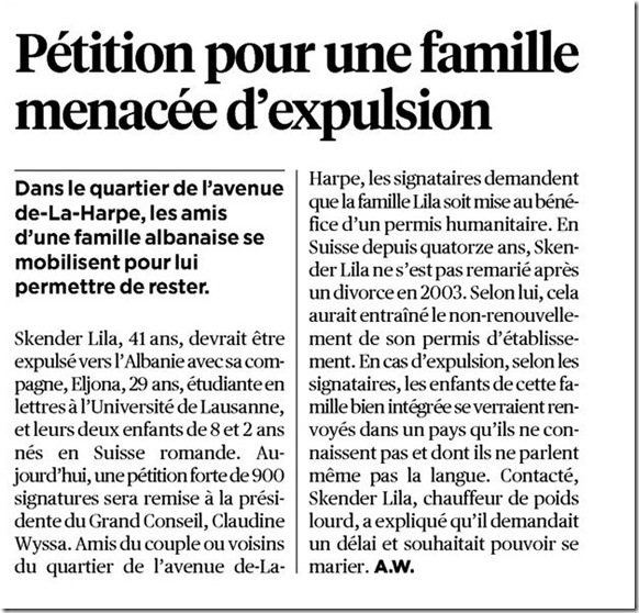 pétition famille lausanne