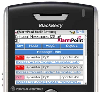 AlarmPoint screen