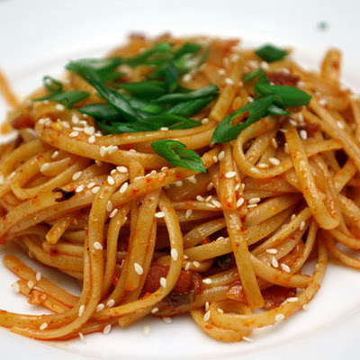 Kimchi Pasta with Bacon and Sesame Seeds