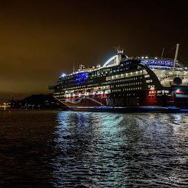 Viking Line by Bojan Bilas - Transportation Boats ( cruiser, ferry, ship, night, transportation )
