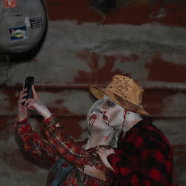 zombie selfie by Scott Rochna - People Couples ( selfie, walking, zombie, plaid, morbid, ghost, dead, halloween )
