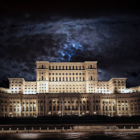 Big and angry lady of Bucharest by Dragos Birtoiu - Buildings & Architecture Public & Historical ( clouds, bucharest, house of parliament, night, romania,  )