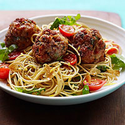 Lemon-Garlic Spaghetti with Sausage Meatballs