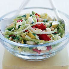 Feta, Avocado & Red Pepper Salad With Honey-lime Dressing