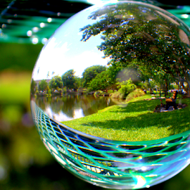 A shady spot to relax by Elfie Back - Artistic Objects Glass ( park, relax, glass, sphere, picknik,  )