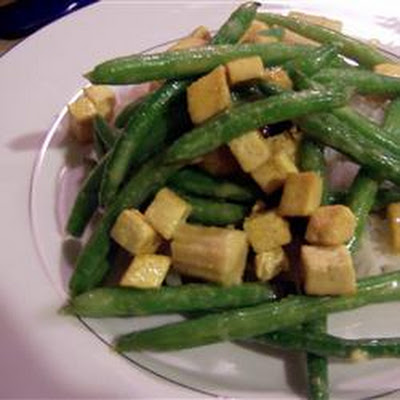 Coconut Curried Tofu with Green Beans and Coconut Rice