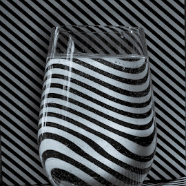 Striped glass by Betsy Wilson - Artistic Objects Glass ( wavy lines, water glass, black & white, glass, lines, stripes, stripe )