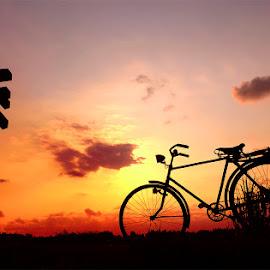 tetek sepur ana pit jowo by Indra Prihantoro - Transportation Bicycles ( transportasi, sunset, bicycle )