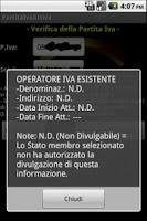 Screenshot of Verifica Partita IVA Attiva