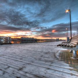 Frosty sunrise by Geir Christensen - City,  Street & Park  Skylines ( clouds, drammen, bench, frost, sunrise, aass bryggeri, norway )