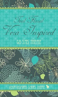 Teal Floral Theme GO SMS - screenshot