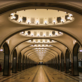 Empty Station by Roland Bast - Buildings & Architecture Public & Historical ( lights, subway, moscow, perspective, subway wtation, subway station )