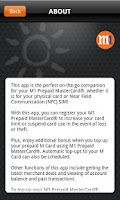 Screenshot of M1 Prepaid MasterCard