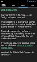 Screenshot of Web Snapshots Ad-free