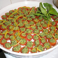 Lemon-Walnut Pesto Stuffed Cherry Tomatoes