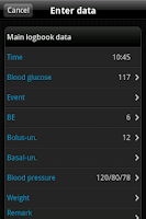 Screenshot of SiDiary Diabetes Management