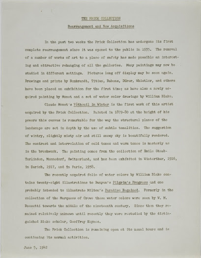 Frick Collection Press Release announcing the removal of works of art to a place of safety and the re-hanging of the galleries.