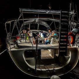 Light on board by Leidolv Magelssen - Transportation Boats ( flash, flashlight, yacht, night, sailboat, boat )