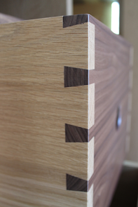Bespoke Armoire - Dovetailed Draws in Contrasting Oak and Walnut