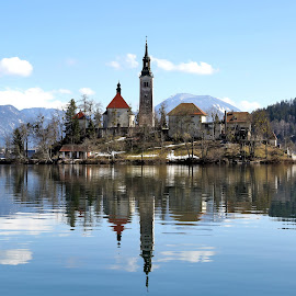 The church on a tiny island on the Lake Bled by Almas Bavcic - Landscapes Travel