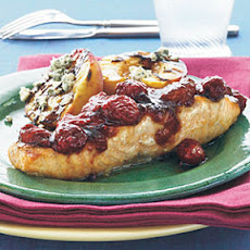 Peach-Glazed Salmon with Raspberries